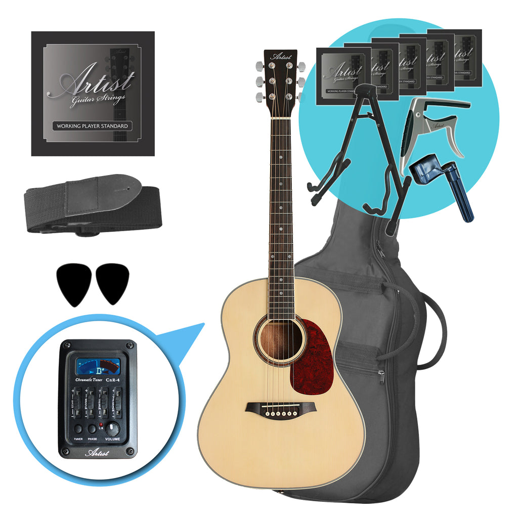Artist LSP34EQ Ultimate 3/4 Beginner Acoustic Guitar+EQ Pack Natural