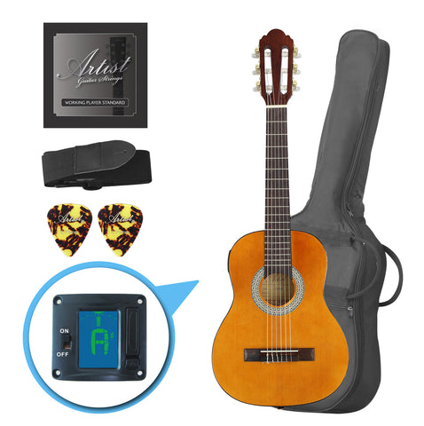 Artist CL14AM 1/4 Size Classical Guitar Pack, Nylon String - Amber
