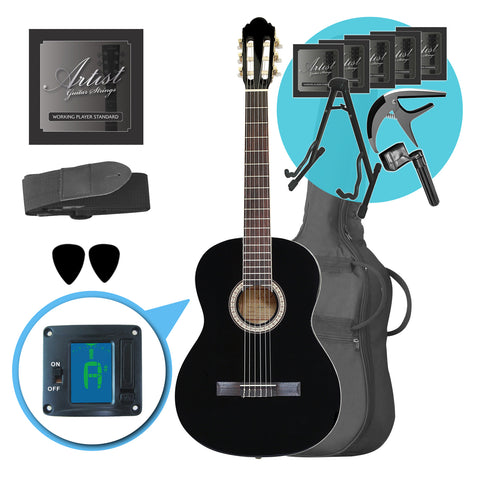 Artist CL44BK Ultimate Beginner Classical Guitar Pack