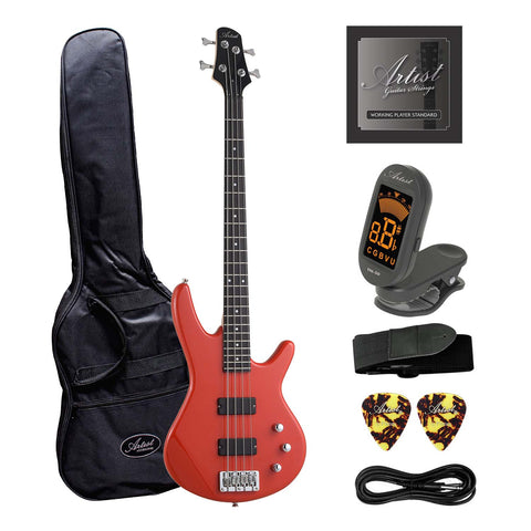 Artist AG105RD Electric Bass Guitar Plus Accessories - Solid Red