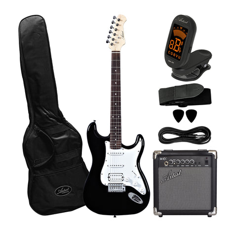 Artist STH Black Electric Guitar with 10 Watt Amp