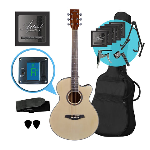 Artist LSPSNT Small Body Beginner Acoustic Guitar Pack Ultimate Pack