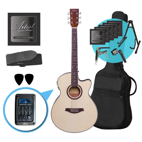 Artist LSPSCEQ Natural Small Body Electro-Acoustic Guitar Ultimate Pack