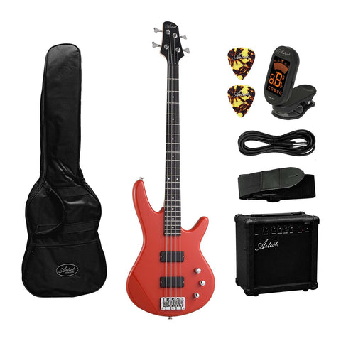 Artist AG105RD Solid Red Electric Bass Guitar + Amp and Accessories