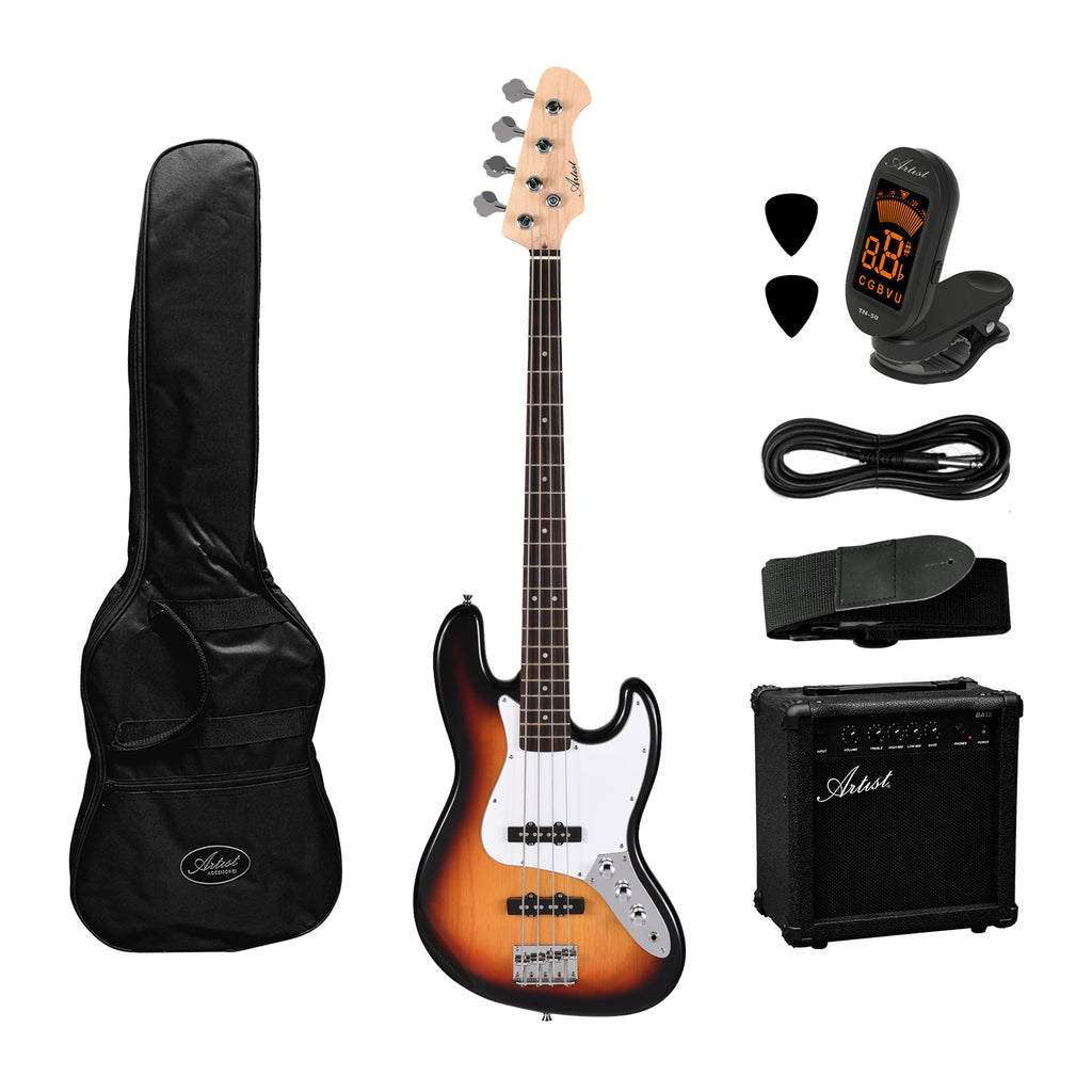 Artist JB2 Sunburst Electric Bass Guitar + Accessories and Amp