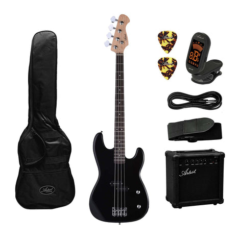 Artist PB2 Black Electric Bass Guitar + Amp and Accessories