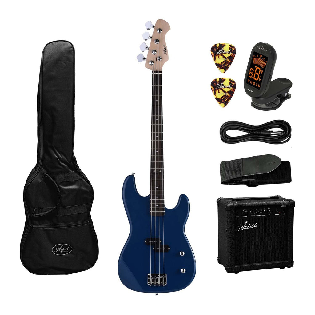 Artist PB2 Blue Electric Bass Guitar + Amp and Accessories