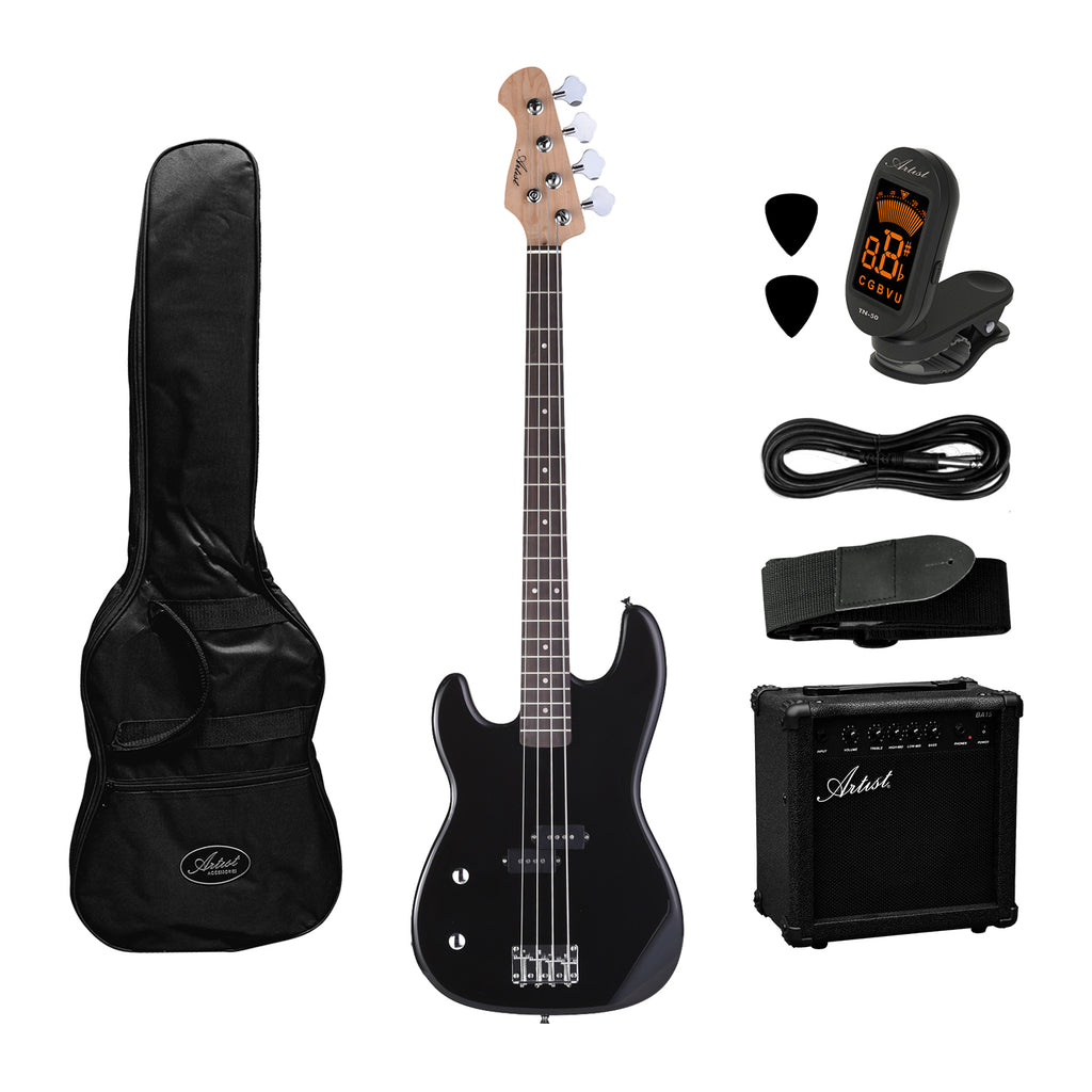 Artist PB2L Left Hand Black Electric Bass Guitar + Amp and Accessories