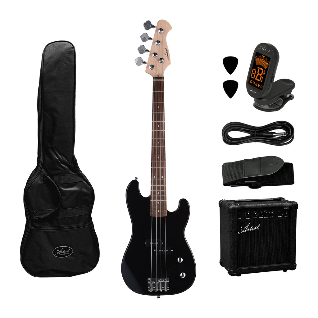 Artist PB34 Black 3/4 Size Electric Bass Guitar +Amp and Accessories