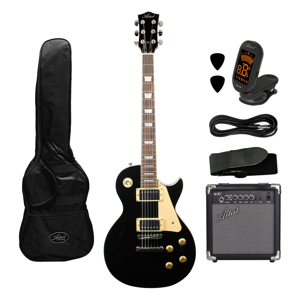 Artist LP60 Black Electric Guitar with Accessories with 10 Watt Amp