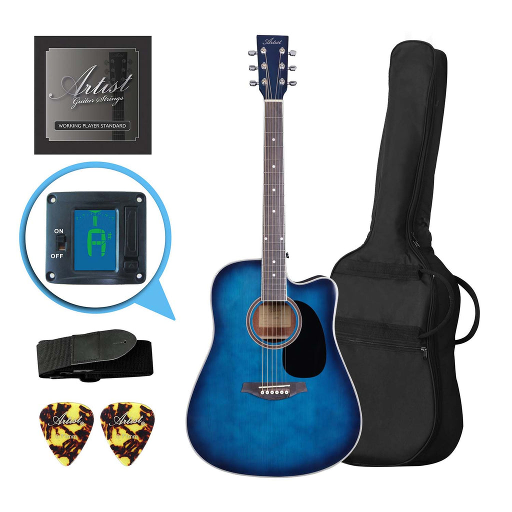 Artist LSPCTB Blue Beginner Acoustic Guitar Pack With Cutaway