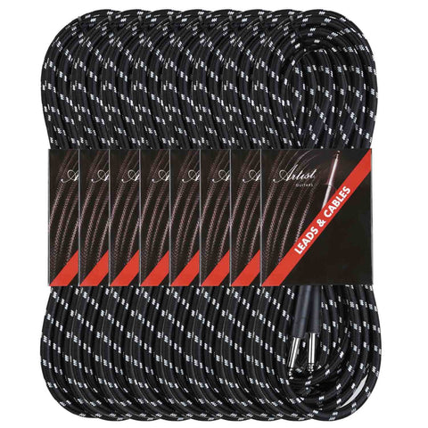 Artist FB20 20ft (6m) Fat Boy Braided Guitar Cable/Lead 8 pack