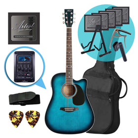 Artist LSPCEQTBB Electro-Acoustic Guitar Ultimate Pack - Blue