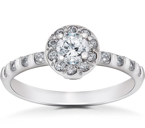 3/4CT Vintage Halo Diamond Engagement Ring 14K White Gold