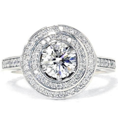 1ct Diamond Double Halo Engagement Ring 14K White Gold