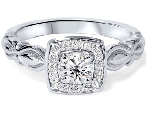 1/2ct Vintage Cushion Halo Diamond Engagement Ring 14K White Gold