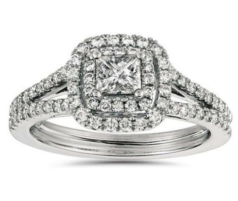 1ct Princess Cut Diamond Double Halo Engagement Ring 14K White Gold