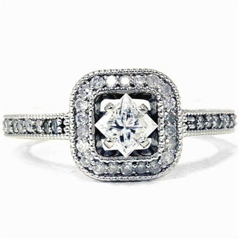 3/4ct Princess Cut Diamond Engagement Ring 14K White Gold