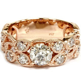2ct Vintage Rose Gold Diamond Engagement Ring 14K