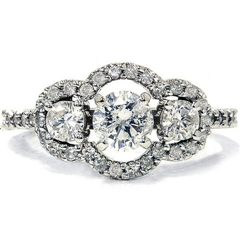1 1/4ct Diamond Engagement Ring 14K White Gold