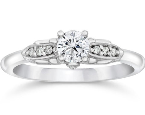 1/2ct Diamond Vintage Engagement Ring 14K White Gold