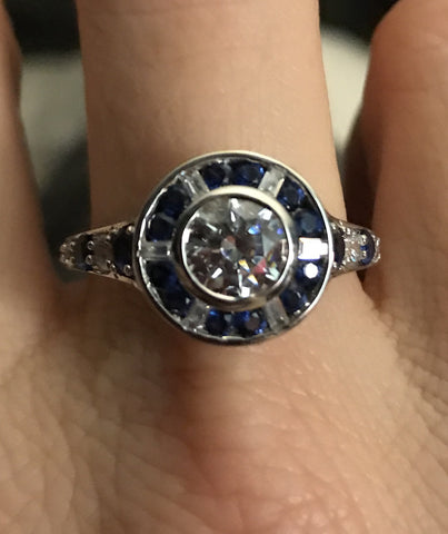Lab Created Sapphire Engagement Ring