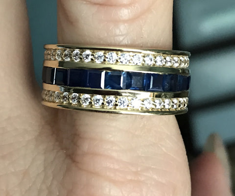 Blue Sapphire and Diamond Men's 10mm Band