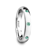 Tungsten Carbide Wedding Band with natural Emeralds