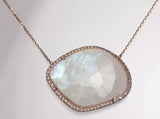 14k Rose Gold Moonstone and Diamond Necklace