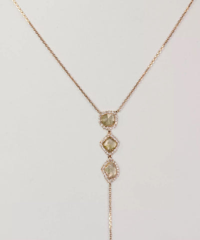 3 Sliced Yellow Diamond Lariat Necklace