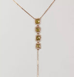 4 Sliced Fancy Yellow Diamond 18k Rose Gold Lariat Necklace