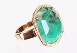 Emerald and Diamond 14k Gold Cocktail Ring