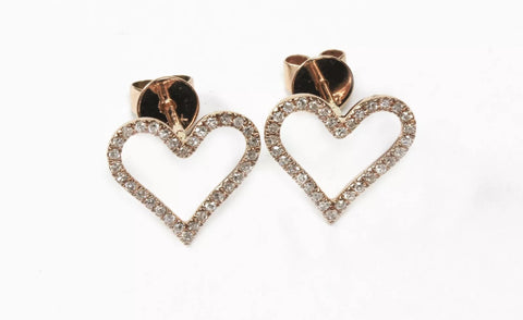 14k Rose Gold Diamond Pave' Heart Earrings