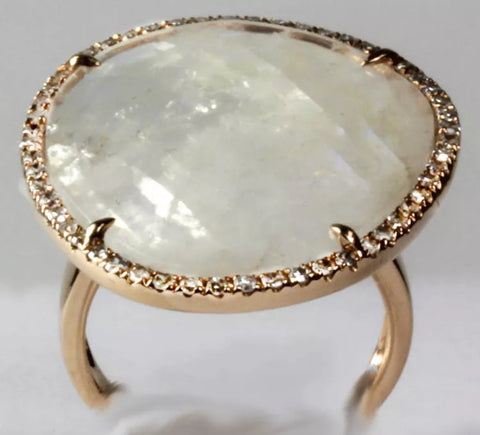 18k Rose Gold Moonstone and Diamond Ring