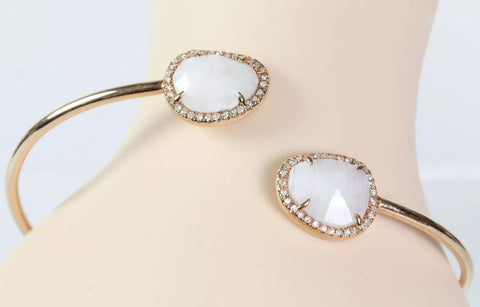 14k Rose Gold Moonstone and Diamond Bangle Bracelet