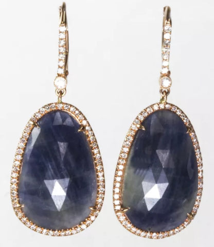 14k Rose Gold Blue Sapphire and Diamond Dangling Earrings
