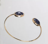 14k Rose Gold Blue Sapphire and Diamond Bangle Bracelet