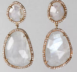 14k Rose Gold Moonstone and Diamond Earrings