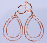 Pear Shaped Micro Pave' Diamond Rose Gold Earrings
