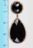 Dangling  black onyx and diamond pave' earrings in 14k rose gold