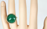 Green Agate and Diamond 14k Gold Cocktail Ring