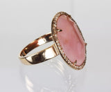 14k Rose Gold Pink Opal and Diamond Cocktail Ring