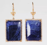 14k Rose Gold Blue Sapphire and Diamond Earrings