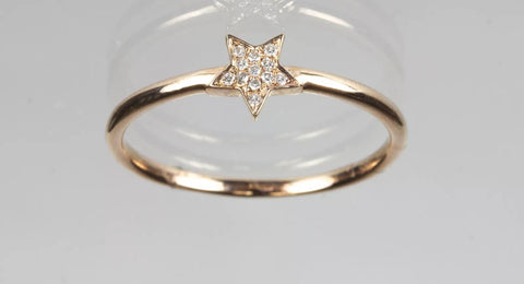 14k Rose Gold pave' Diamond Star Stacking Ring