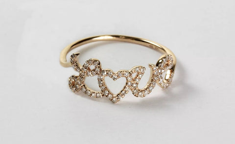 14k Gold Diamond Pave' LOVE Ring