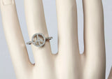 14k White Gold Pave' Diamond Peace Sign Ring