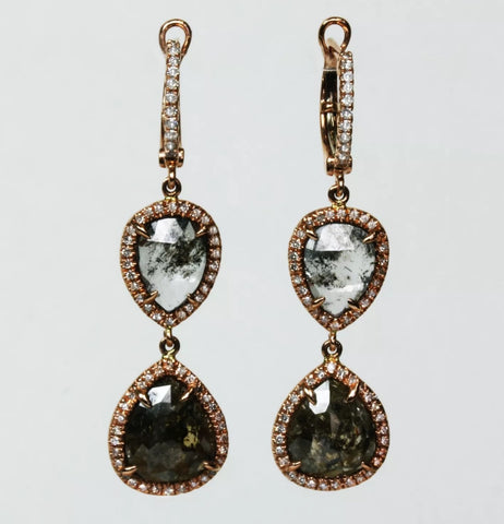 Sliced Champagne Diamond Dangling Earrings