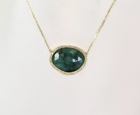 14k Yellow Gold, Diamond and Sliced Emerald Necklace
