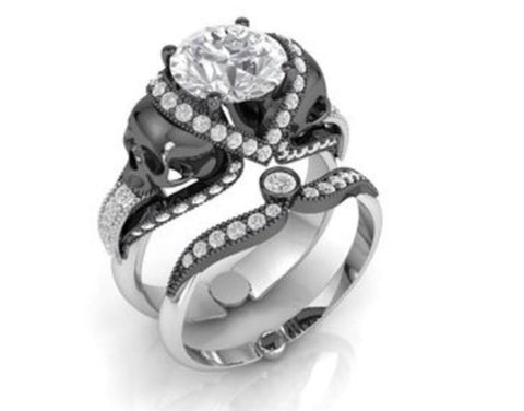 GIA .75ct Art Deco Skulls Wedding Set