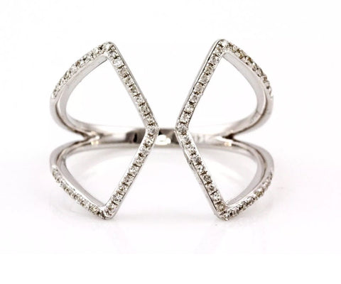 14k pave' open X ring
